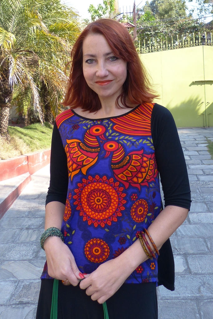 Global Desi magical birds printed top