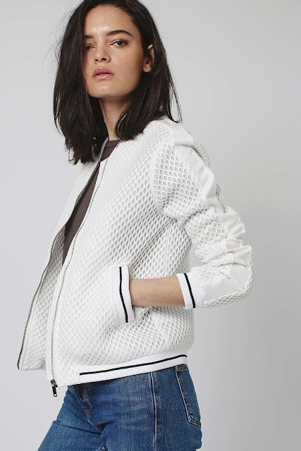 white airtex bomber jacket, topshop white mesh bomber jacket, mesh bomber jacket,