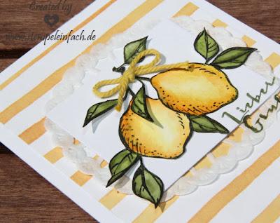 Karte mit Zitrone, Großes Glück von Stampin up