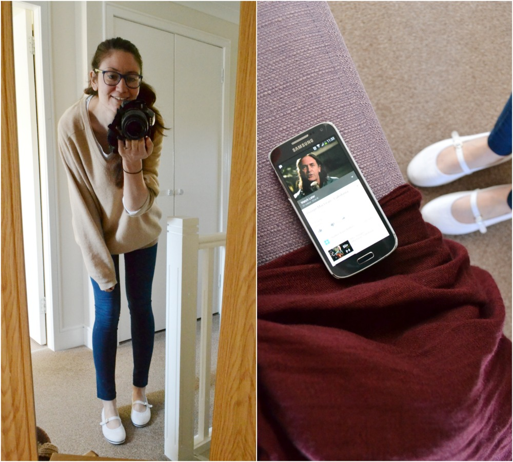 what I'm wearing today outfit jeggings cashmere jumper M&S plimsolls shoes
