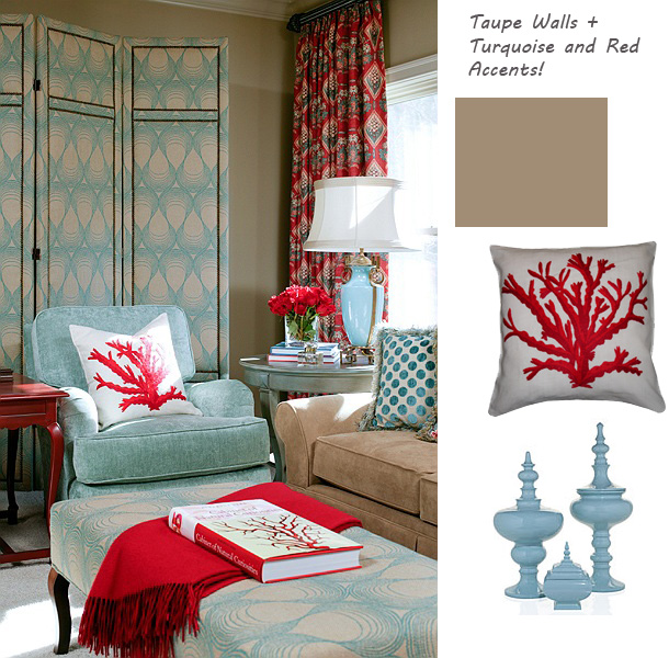 Red And Turquoise Living Room: The Old Post Road: How I Neutered My Red Sofa