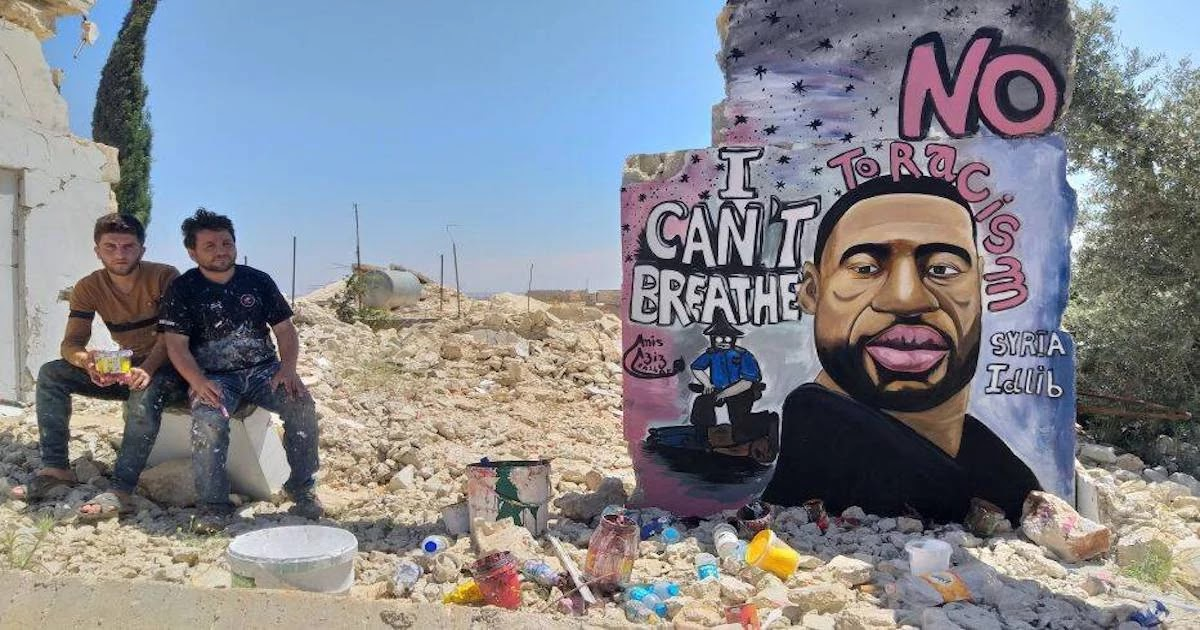 Artists In Syria Paint Mural For George Floyd On The Ruins Of War-Torn Neighbourhood Showing All Struggles Are One