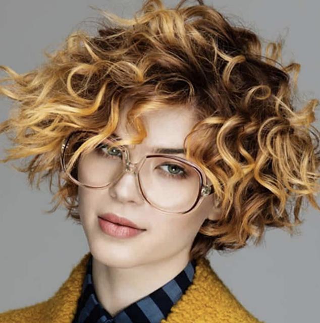 Brown balayage curly short bob haircut