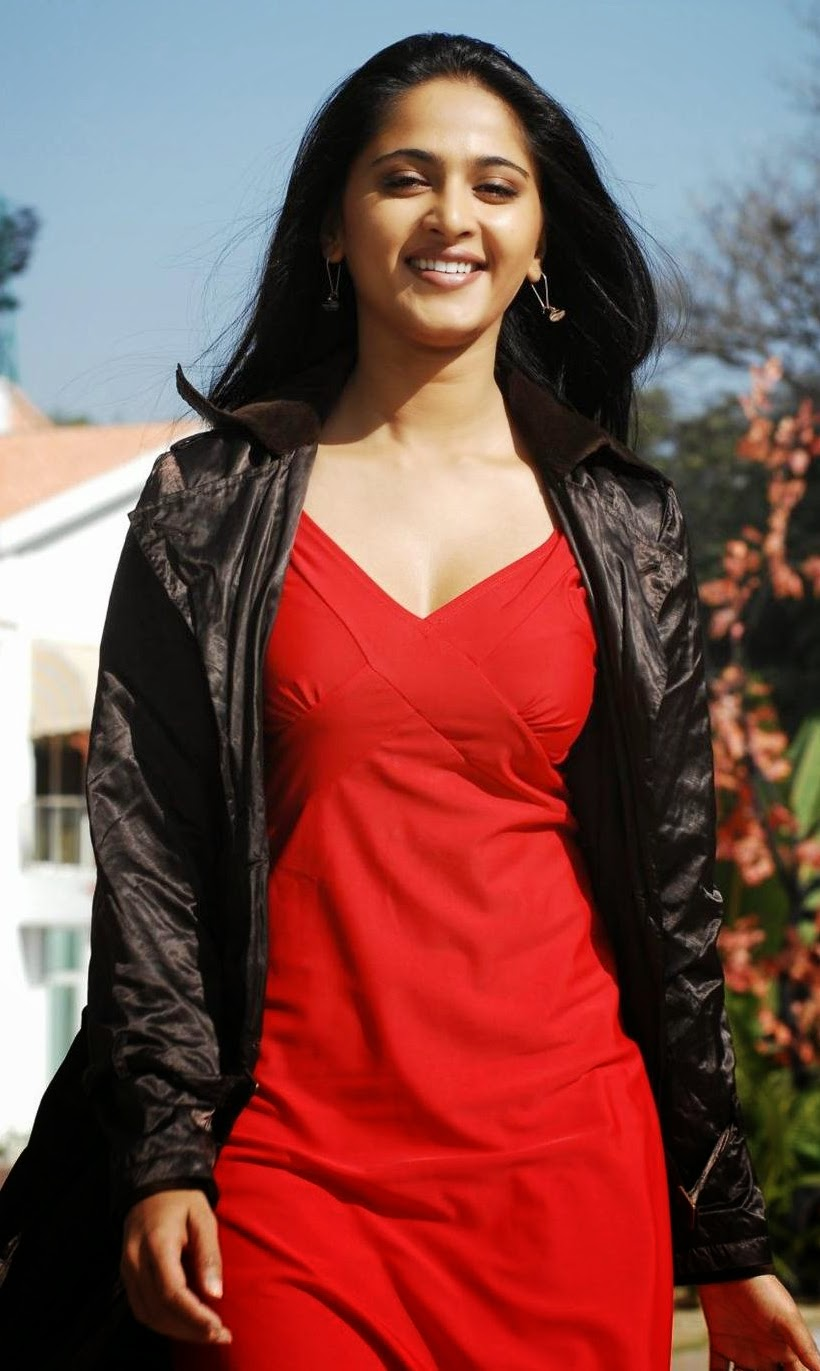 Anushka Shetty Cute Stills In Red Dress