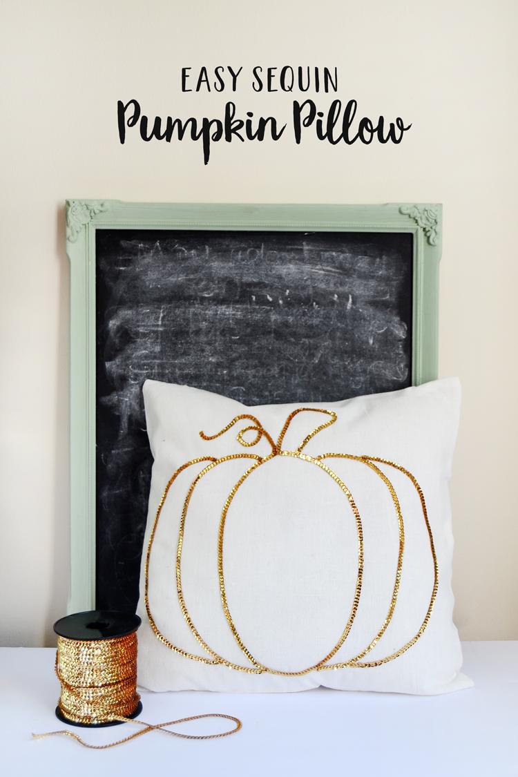 sequin pumpkin pillow diy