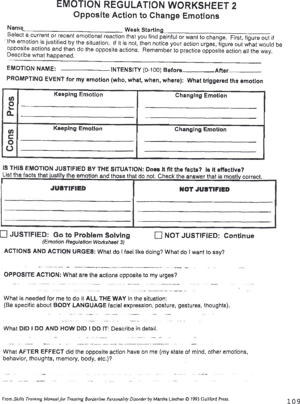 Emotion Regulation Worksheet 2 With Personal Example