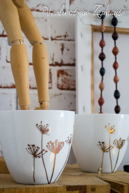 Windlichter mit Blumen Motiv von Hübsch Interior, weißes Porzellan