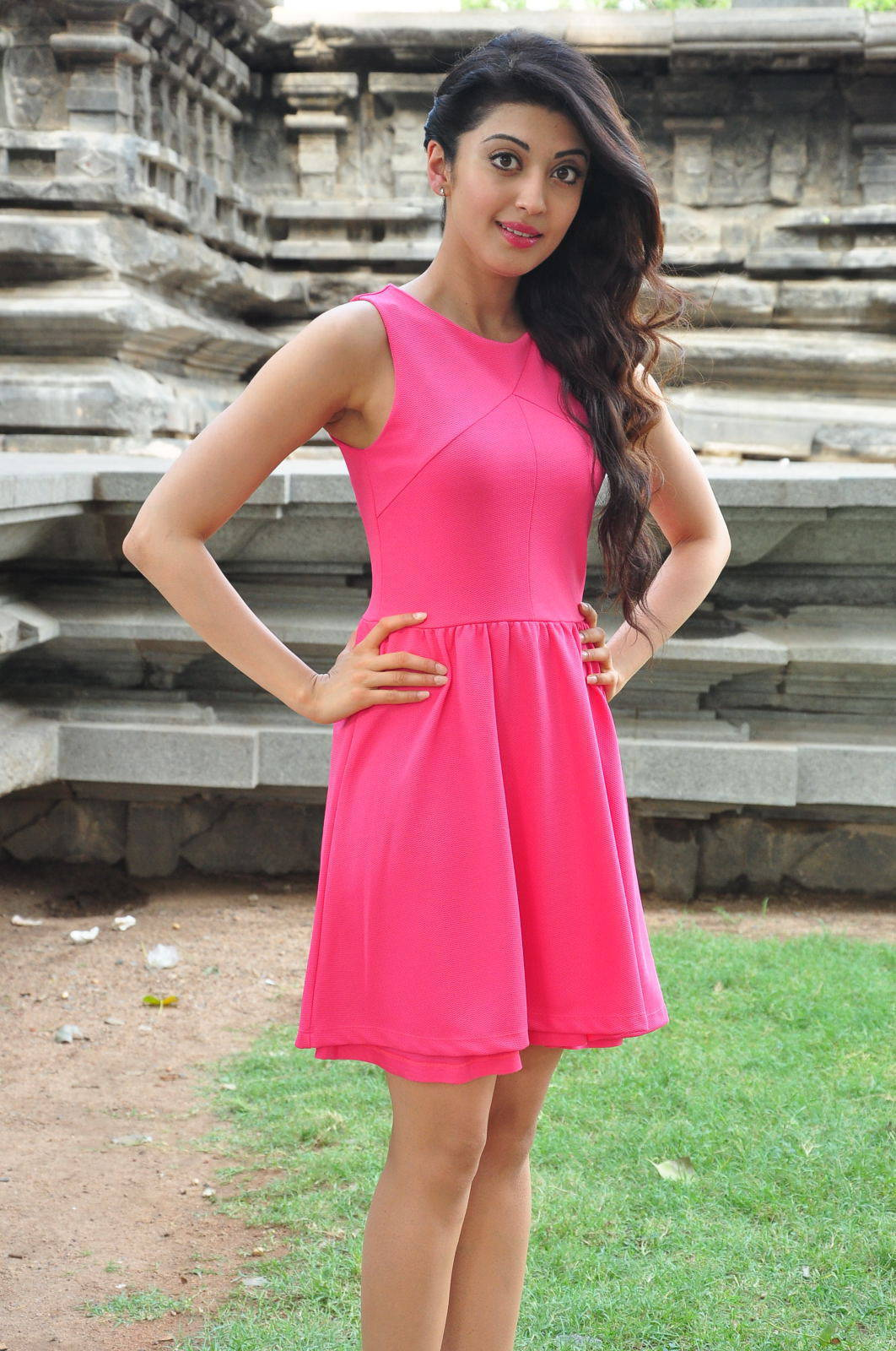 Pranitha Legs Show Stills In Pink Dress