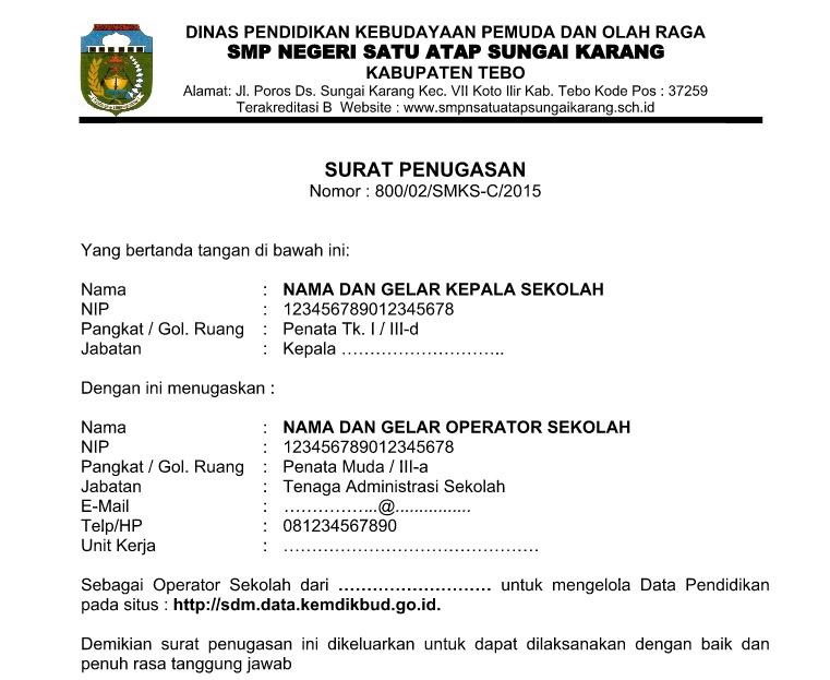 Contoh Surat Tugas Operator Sekolahtenaga Administrasi
