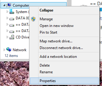 Open Windows Explorer, then right click on Computer and select Properties