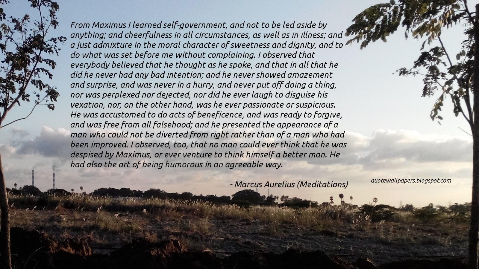 Marcus Aurelius About Maximus