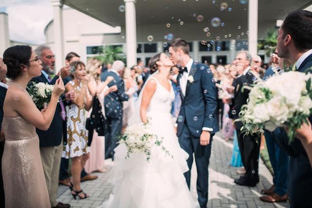 bride and groom bubble sendoff