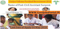 Telangana Vaidya Vidhana Parishad Recruitment 2018–1133 Civil Assistant Surgeon