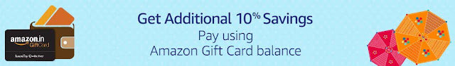 Shop worth Rs.1000 or more using Amazon Gift Card Balance and get Rs.100 back as an Amazon Gift Card.