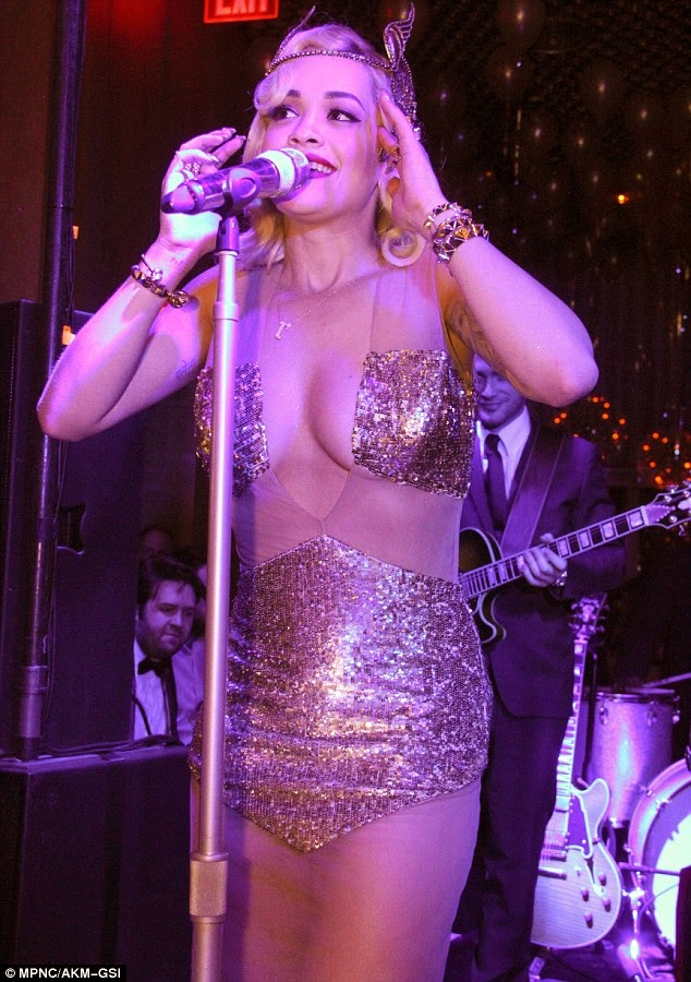 Rita Ora wowed in a very low-cut dress with her ample cleavage