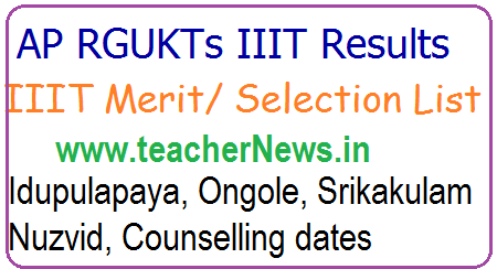 AP RGUKTs IIIT Results, Merit/ Selection List, Idupulapaya, Ongole, Srikakulam Nuzvid, Counselling dates for BTech admissions 2017