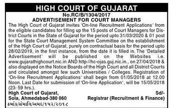Gujarat High Court Jobs 2018 Apply Online Court Manager Bharti at hc-ojas.guj.nic.in