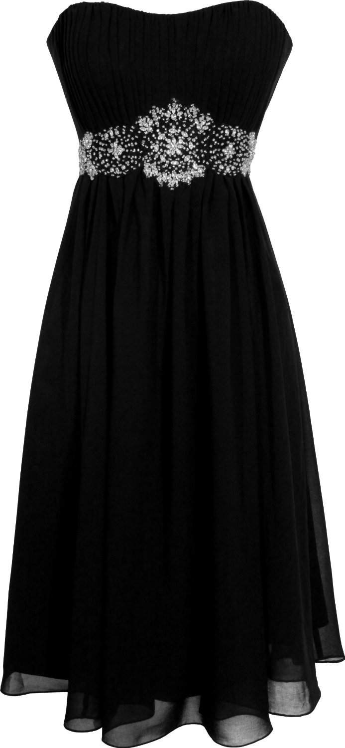 Strapless+Chiffon+Goddess+Gown+Prom+Dress+Formal+Knee Length+Junior+Plus+Size black Plus Size Formal Tops Blouses