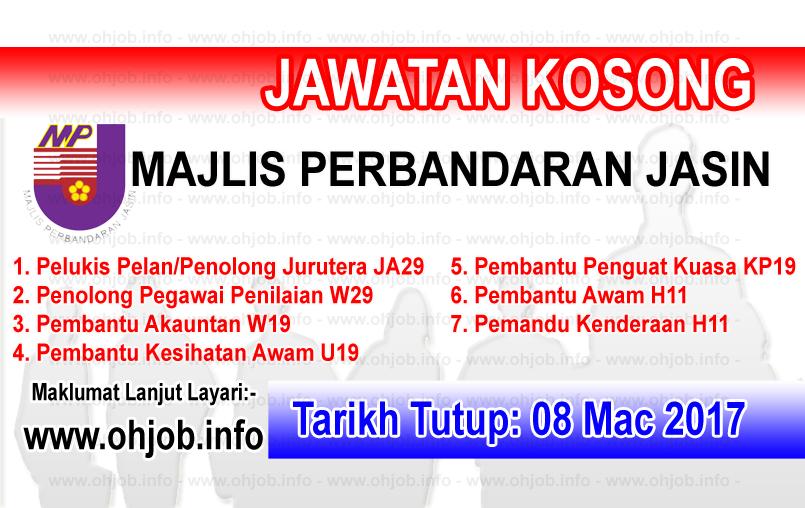 Jawatan Kerja Kosong MP Jasin - Majlis Perbandaran Jasin logo www.ohjob.info mac 2017