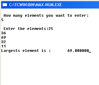 C Program to Read Set of Real Numbers and Find the Maximum
