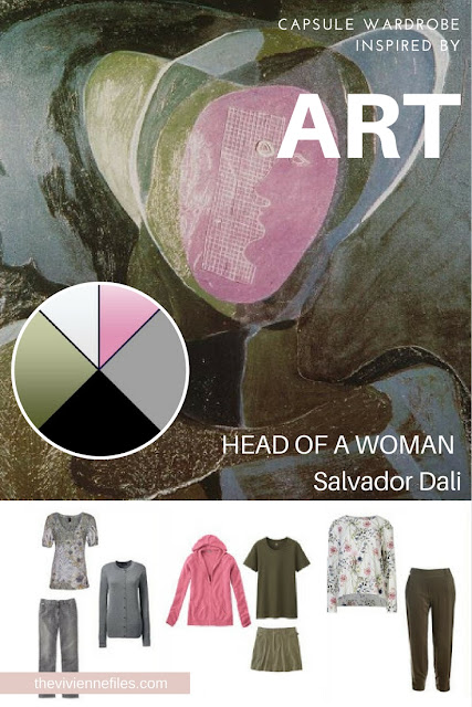 How to Build a Capsule Wardrobe with Olive and Grey - Start with Art: Head of a Woman by Salvador Dali