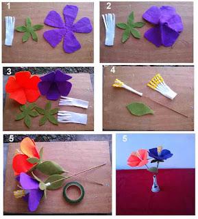 Cara mudah membuat bunga sepatu dari kain flanel