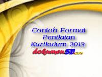 Contoh Format Penilaian Kurikulum 2013 Terbaru