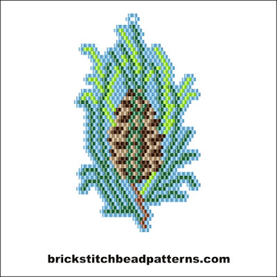 Free brick stitch seed bead earring pattern color chart