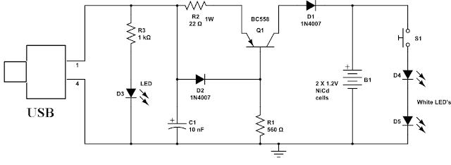 usb powered led lamp circuit