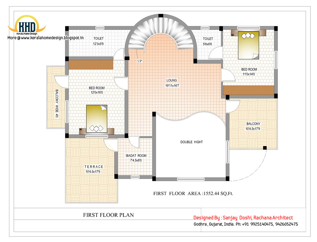 Duplex house plan and elevation 3122 sq ft kerala for House plan for 2000 sq ft in india