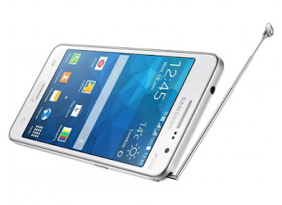 Samsung Galaxy Grand Prime Duos TV Specifications - LAUNCH Announced 2014, October Also Known as Samsung Galaxy Grand Prime Duos TV G530BT DISPLAY Type TFT capacitive touchscreen, 16M colors Size 5.0 inches (~65.8% screen-to-body ratio) Resolution 540 x 960 pixels (~220 ppi pixel density) Multitouch Yes BODY Dimensions 144.7 x 72.4 x 8.6 mm (5.70 x 2.85 x 0.34 in) Weight 152 g (5.36 oz) SIM Dual SIM (Micro-SIM, dual stand-by) PLATFORM OS Android OS, v4.4.2 (KitKat) CPU Quad-core 1.2 GHz Cortex-A53 Chipset Qualcomm MSM8916 Snapdragon 410 GPU Adreno 306 MEMORY Card slot microSD, up to 64 GB (dedicated slot) Internal Internal 8 GB, 1 GB RAM CAMERA Primary 8 MP, autofocus, LED flash Secondary 5 MP Features Geo-tagging, touch focus Video 1080p@30fps NETWORK Technology GSM / HSPA 2G bands GSM 850 / 900 / 1800 / 1900 - SIM 1 & SIM 2 3G bands HSDPA 850 / 900 / 1900 / 2100 Speed HSPA GPRS Yes EDGE Yes COMMS WLAN Wi-Fi 802.11 b/g/n, Wi-Fi Direct, hotspot GPS Yes, with A-GPS USB microUSB v2.0 Radio FM radio Bluetooth v4.0, A2DP FEATURES Sensors Accelerometer, proximity, compass Messaging SMS(threaded view), MMS, Email, Push Mail, IM Browser HTML5 Java No SOUND Alert types Vibration; MP3, WAV ringtones Loudspeaker Yes 3.5mm jack Yes BATTERY   Stand-by Removable Li-Ion 2600 mAh battery Talk time Up to 17 h (3G) Music play  MISC Colors Black, White SAR US 0.56 W/kg (head)     1.02 W/kg (body)    SAR EU 0.53 W/kg (head)     0.37 W/kg (body)     - TV tuner - MP4/H.264 player - MP3/WAV/eAAC+/FLAC player - Photo/video editor - Document viewer