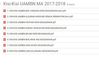 Kisi-Kisi UAMBN MA PAI - B. Arab MA Tahun Pelajaran 2017-2018 atau Tahun 2018