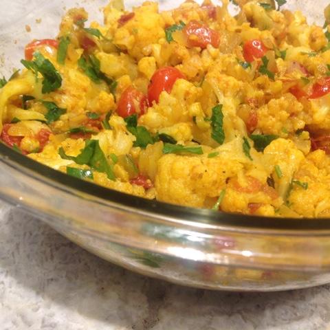 Bowl of Aloo Gobi Cauliflower @www.realfoodmatters.com