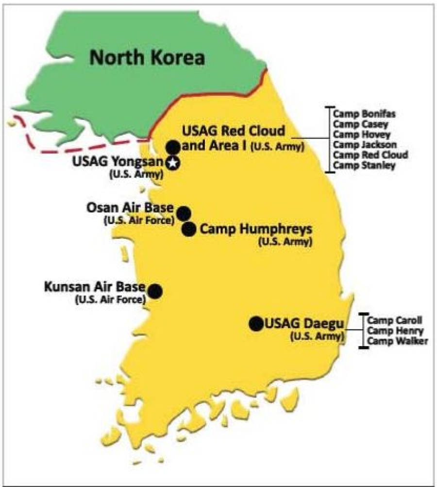 this is a map of all the u s bases in south korea and all the north korean and russian bases near u s borders source u s department of defense