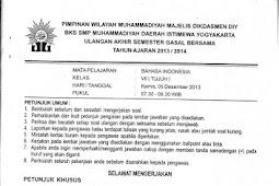 Soal UAS Bahasa Indonesia SMP Kelas 7-9 Semester 1 BKS Muhammadiyah DIY