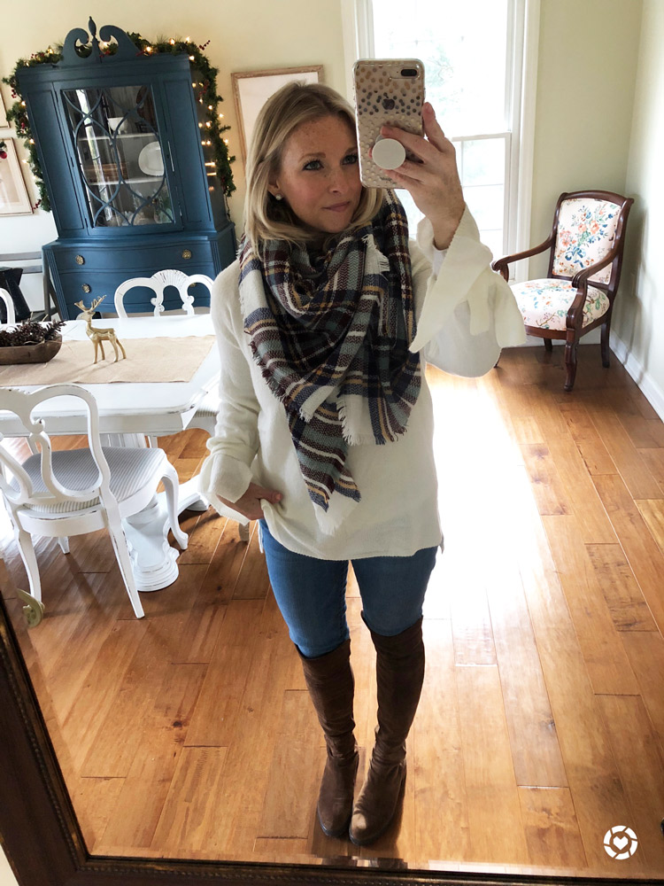 plaid scarf with off white sweater skinny jeans and over the knee boots