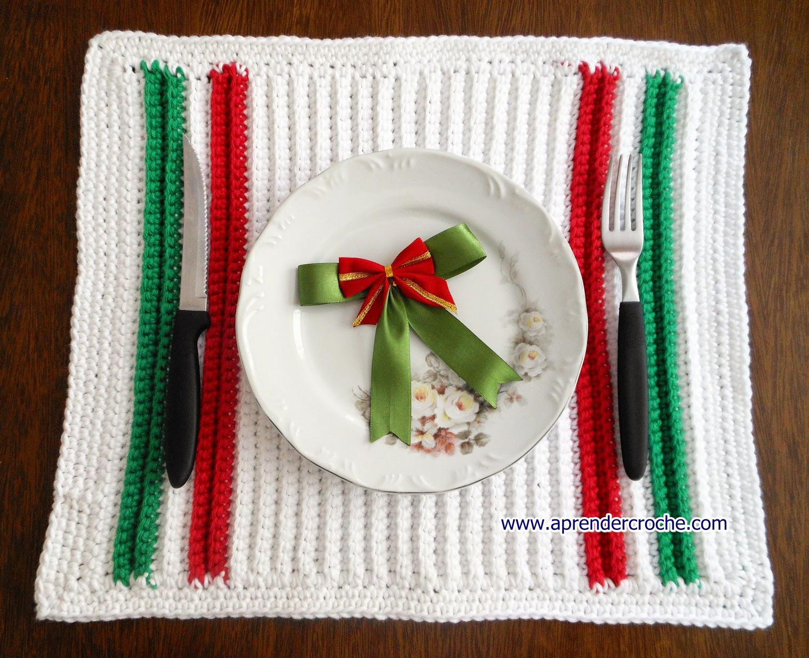 croche natal americanos aprender croche com edinir-croche mesa maxcolor pratos xicaras copos talheres réveillon dvd vermelho verde branco facebook loja frete gratis youtube