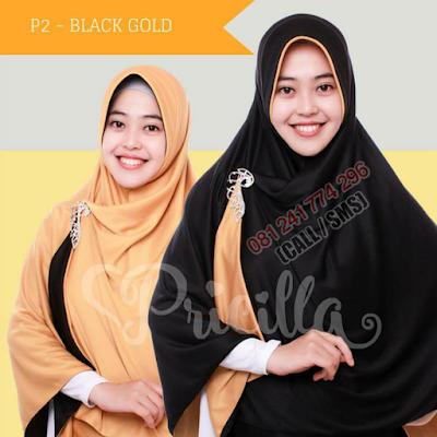 JILBAB Bolak Balik Atau Timbal Balik Original P2 - Black Gold