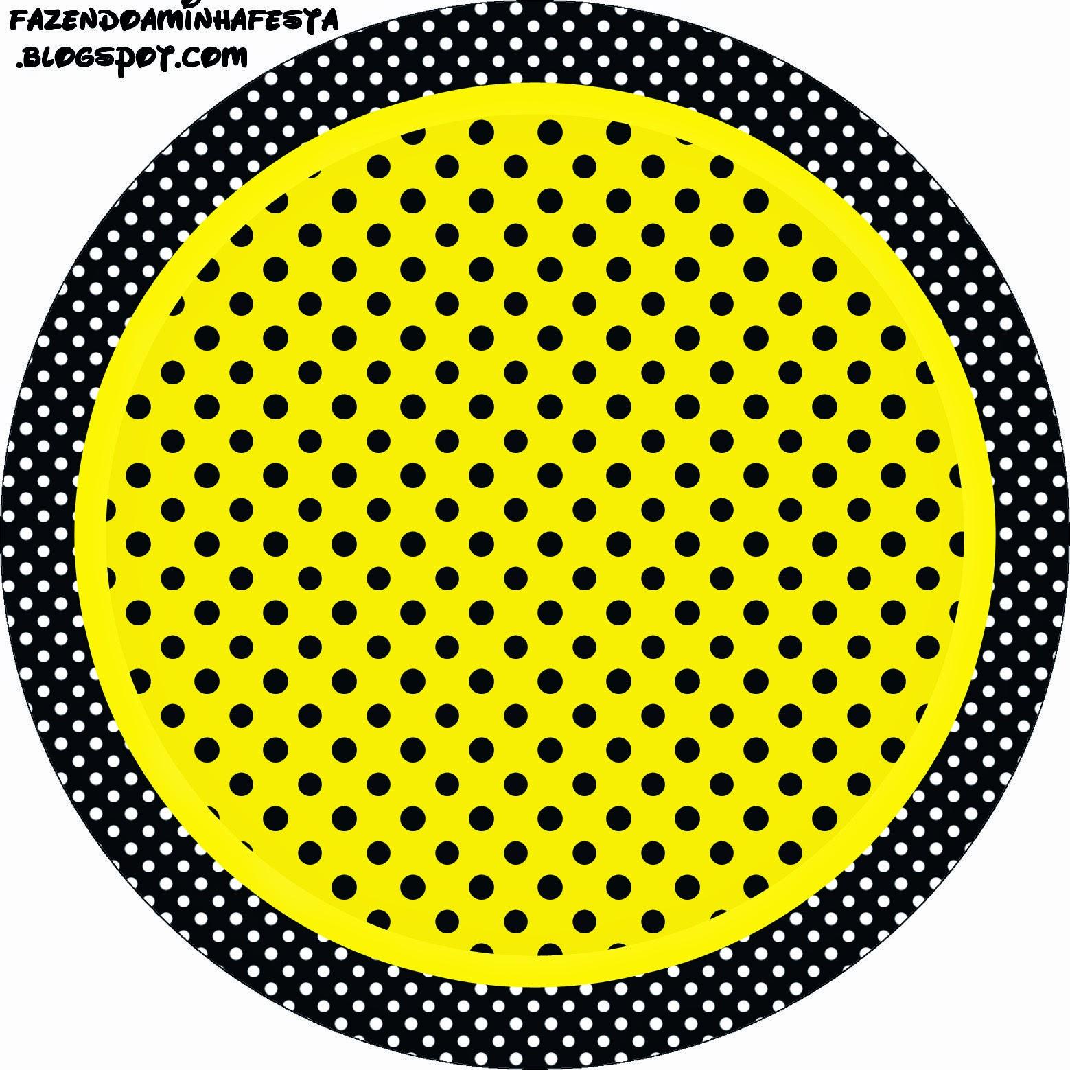 Toppers o Etiquetas de Amarillo con Lunares Negros para imprimir gratis.