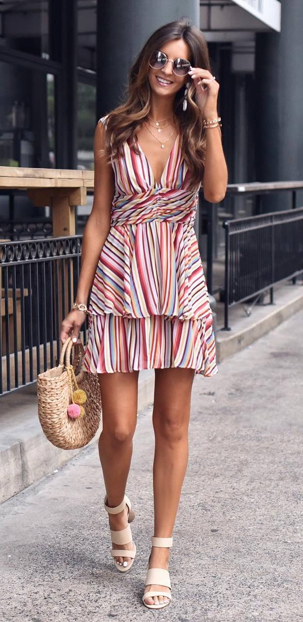 cute summer outfit / striped dress + bag + heels