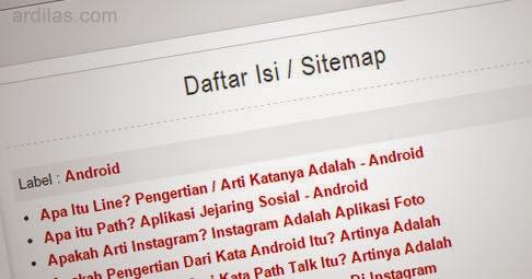 Cara Kedua Membuat Sitemap / Daftar Isi Blogger Otomatis