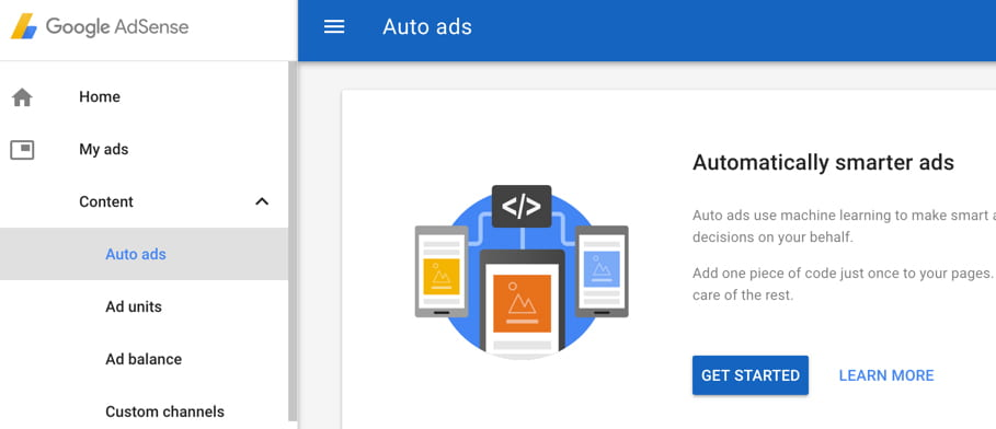 Auto ads option choose in Google Adsense