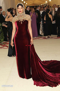 Priyanka Chopra in Maroon Velvet Gown at 2018 MET Costume Insute Gala ~ Exclusive 01