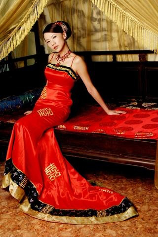 Tea length red lace sleeveless off the shoulder Aline ...  Chinese Wedding Dresses 2012
