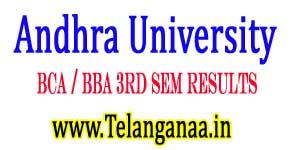 Andhra University BCA / BBA 3rd Sem Results 2017
