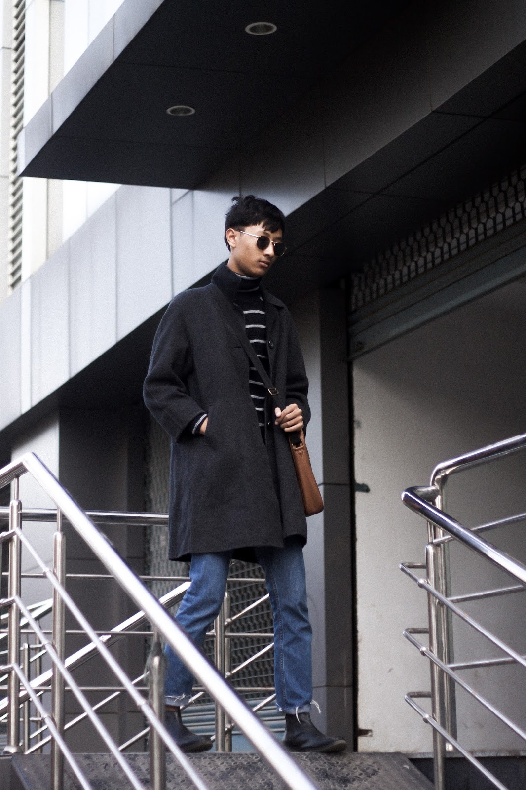 TheQuirkyMinimal by Kangkan Rabha Indian Menswear & Lifestyle blog Wering Thrifted Coat, DIY Jeans, Turtle neck sweater, ASOS Messenger bag & sunglasses, Koovs Boots