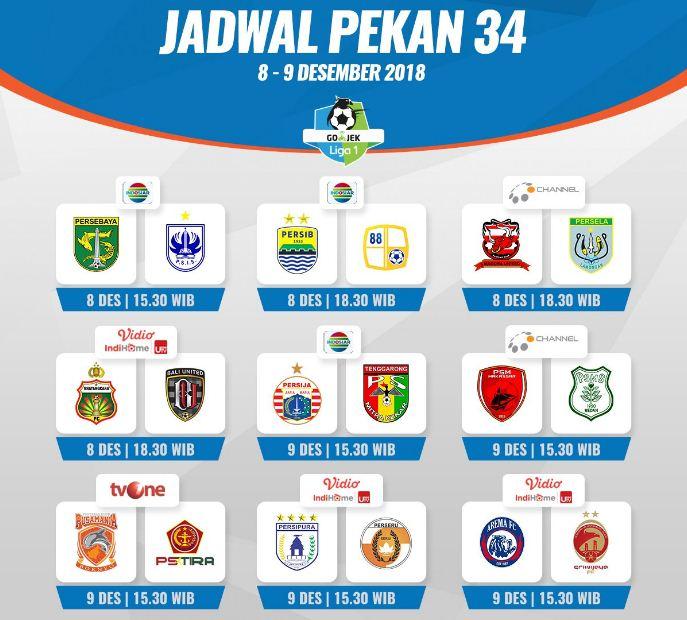 Jadwal Liga 1 Pekan 34