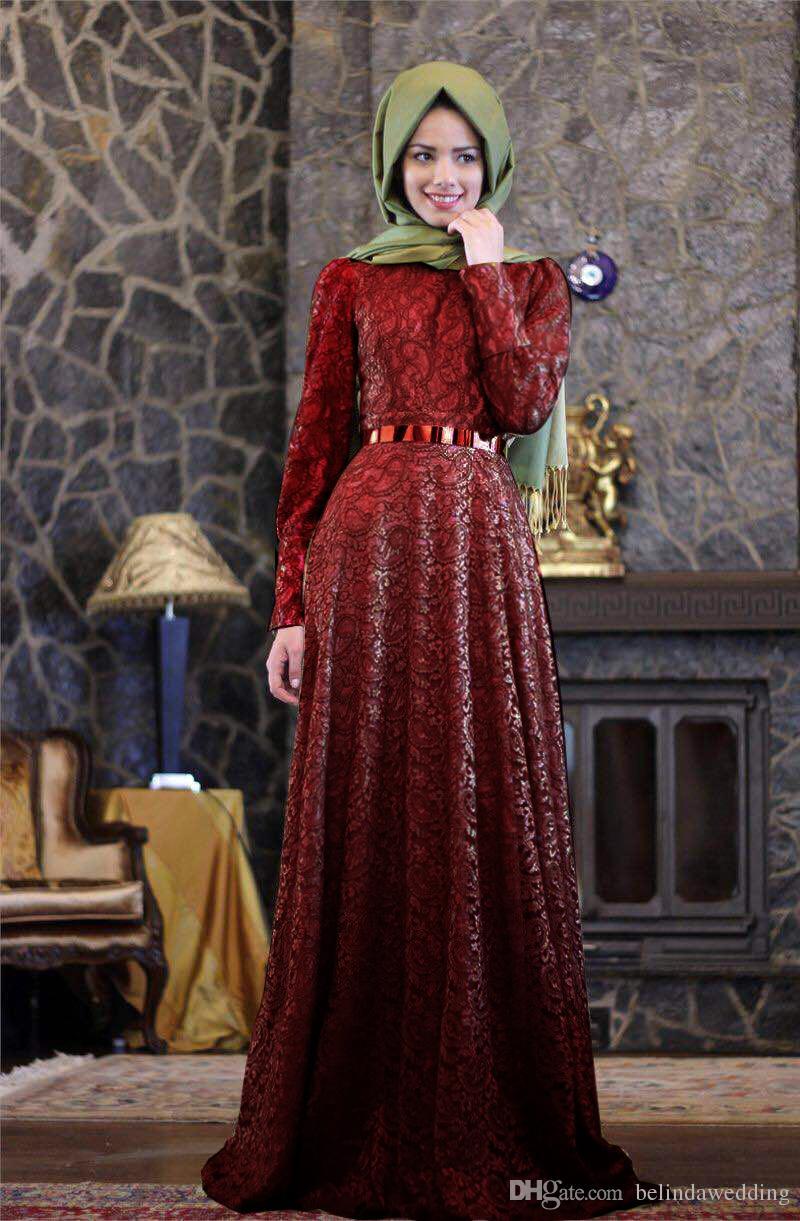 Arabic Dress Burgundy Formal Long Sleeve Muslim Evening Dress 2016 Hijab Abaya Moroccan Kaftan Evening Gown Prom Dresses