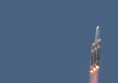 ULA Delta-IV heavy rocket just after launch from Florida