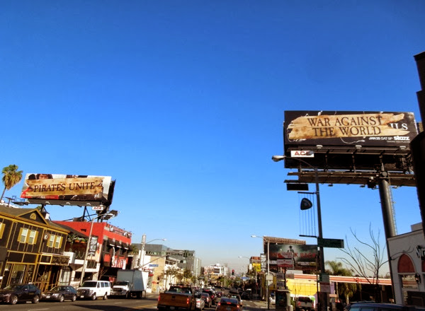 Pirates unite Against World billboards Sunset Strip